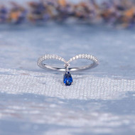 Unique Pear Shaped Sapphire Ring Wedding Band