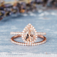 Pear Shaped Morganite Wedding Bridal Set