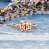 Cushion Cut Bridal Wedding Morganite Ring