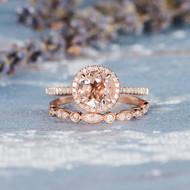 Morganite Rose Gold Engagement Ring Set