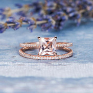 Princess Cut Engagement Morganite Bridal Set
