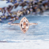 Marquise Morganite Ring Diamond Wedding Ring