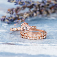 Morganite Ring Oval Cut ose Gold Engagement Ring Set
