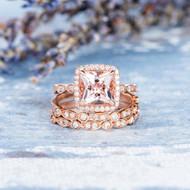 Art Deco Princess Cut Morganite Ring