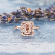 Morganite Ring Emerald Cut Engagement Diamond Ring