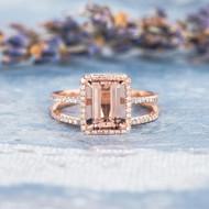 Emerald Cut Morganite Diamond Halo Ring Set