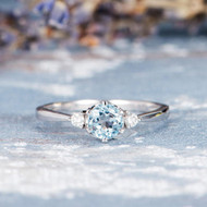 Three Stone Aquamarine Engagement Ring