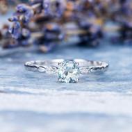 Leaf Eternity Band Aquamarine Engagement Ring