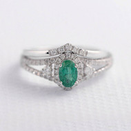 Emerald Ring Set Oval Cut Engagement Ring