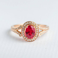 Oval Cut Ruby Ring Diamond Engagement Ring