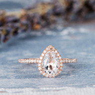 Birthstone Rose Gold  Pear Shaped Topaz Ring