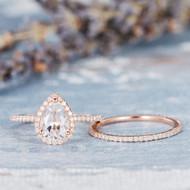 White Topaz ngagement Ring Set Bridal Set