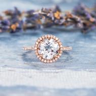 Unique White Topaz Engagement Wedding Ring