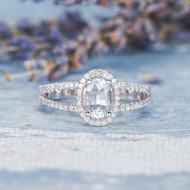 White Sapphire Oval Cut Engagement Ring