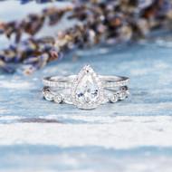 White Sapphire Engagement Ring Pear Shaped Bridal Set
