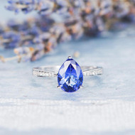 Pear Shaped Tanzanite Engagement Ring Solitaire Ring