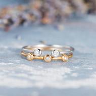 Rose Gold Cuff Bezel Set Diamond Ring Set