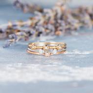 Minimalist Bezel Set Diamond Ring Set