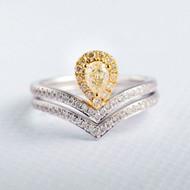 Yellow Diamond Pear Cut Unique Bridal Set