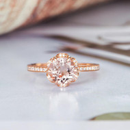 Floral Flower Bridal Wedding Morganite Ring