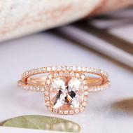 Cushion Cut Diamond Wedding Morganite Ring Set