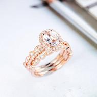 Oval Cut Diamond Wedding Engagement Ring Set