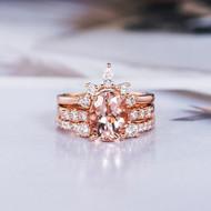 Morganite Engagement Ring Rose Gold Bridal Set
