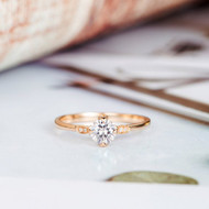 Art Deco Diamond Wedding Moissanite Ring