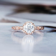 Halo Diamond Art Deco  Moissanite Ring