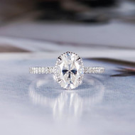 Oval Cut Moissanite Bridal Ring Floral Unique
