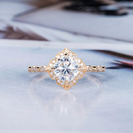 Cushion Cut Bridal Ring Women Vintage Ring