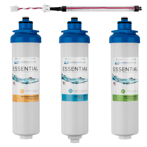 Complete Filter Set for ESSENTIAL Reverse Osmosis System with UV (Filter Set #: F.SET.RO3-UV)