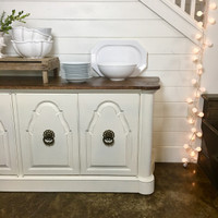 Vintage Painted Credenza with Burled Top