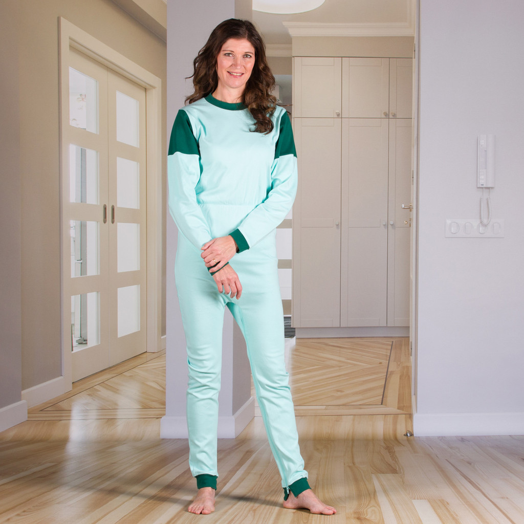 Unisex Jumpsuit with a Zipper-Back and Crotch, Long Legs, and Long Sleeves