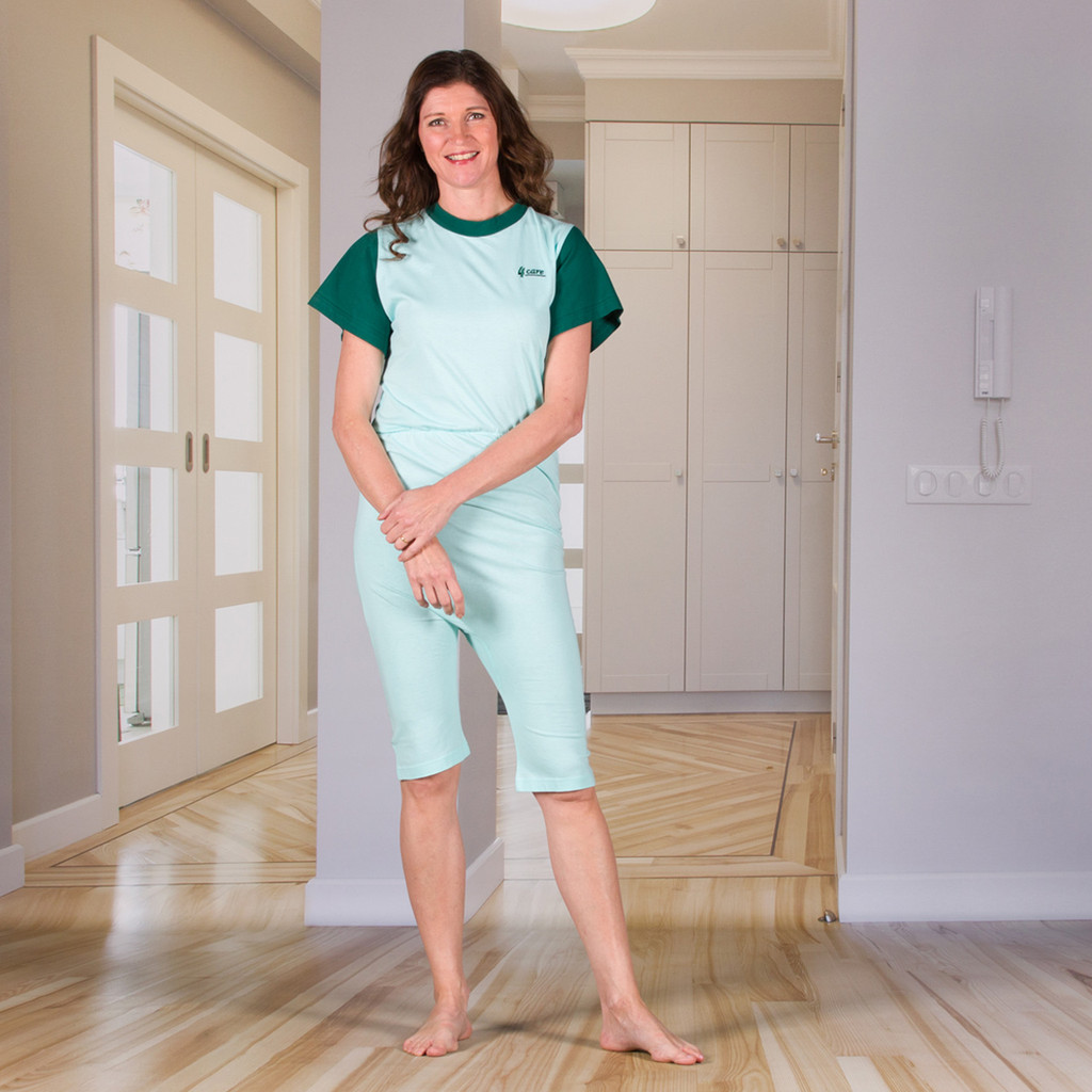 Unisex Jumpsuit with a Zipper-Back, Short Legs, and Short Sleeves