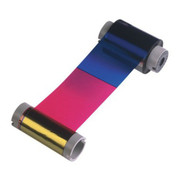 44200 Fargo YMCKO Full-color ribbon w/ cleaning roller, resin black & clear overlay panel - 250 images