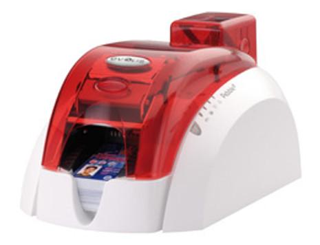 Pebble 4 Evolis Fire Red Single-Sided ID Card Printer w/ Mag Encoder