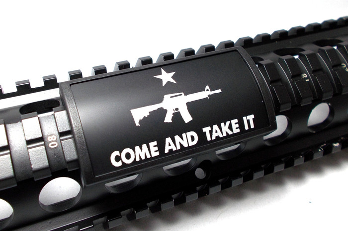 COME AND TAKE IT AR- L LASER ENGRAVED ALUMINUM