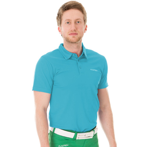 Funktion Golf Mens Short Sleeve Golf Shirt Aqua Blue Plain
