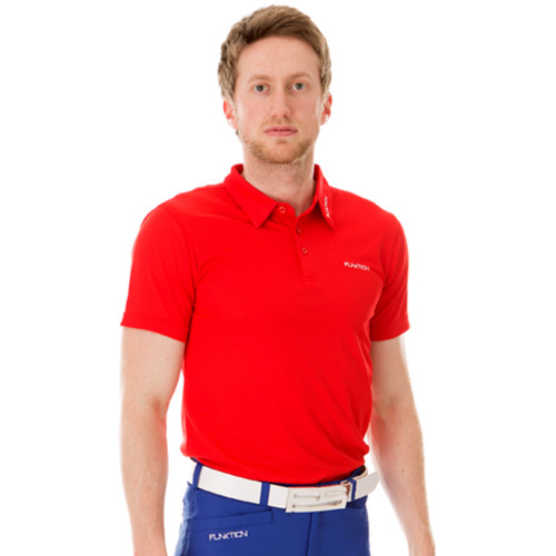 Funktion Golf Mens Short Sleeve Golf Shirt Red Plain