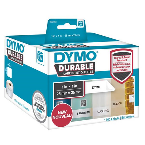 DYMO DURABLE LW450 LABEL SHIPPING WHITE  25MM X 25MM ROLL OF 1700