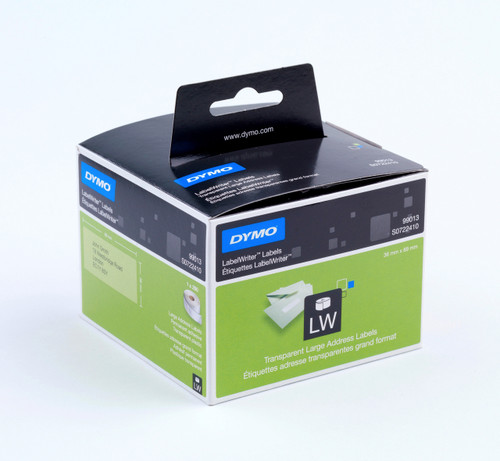 DYMO 99013 / S0722410 LABELWRITER LARGE ADDRESS CLEAR POLY PLASTIC LABELS 36 X 89MM