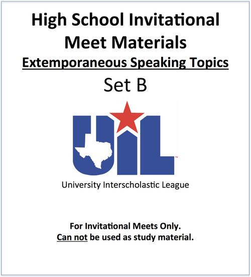 Extemporaneous Speaking Topics (Set B)