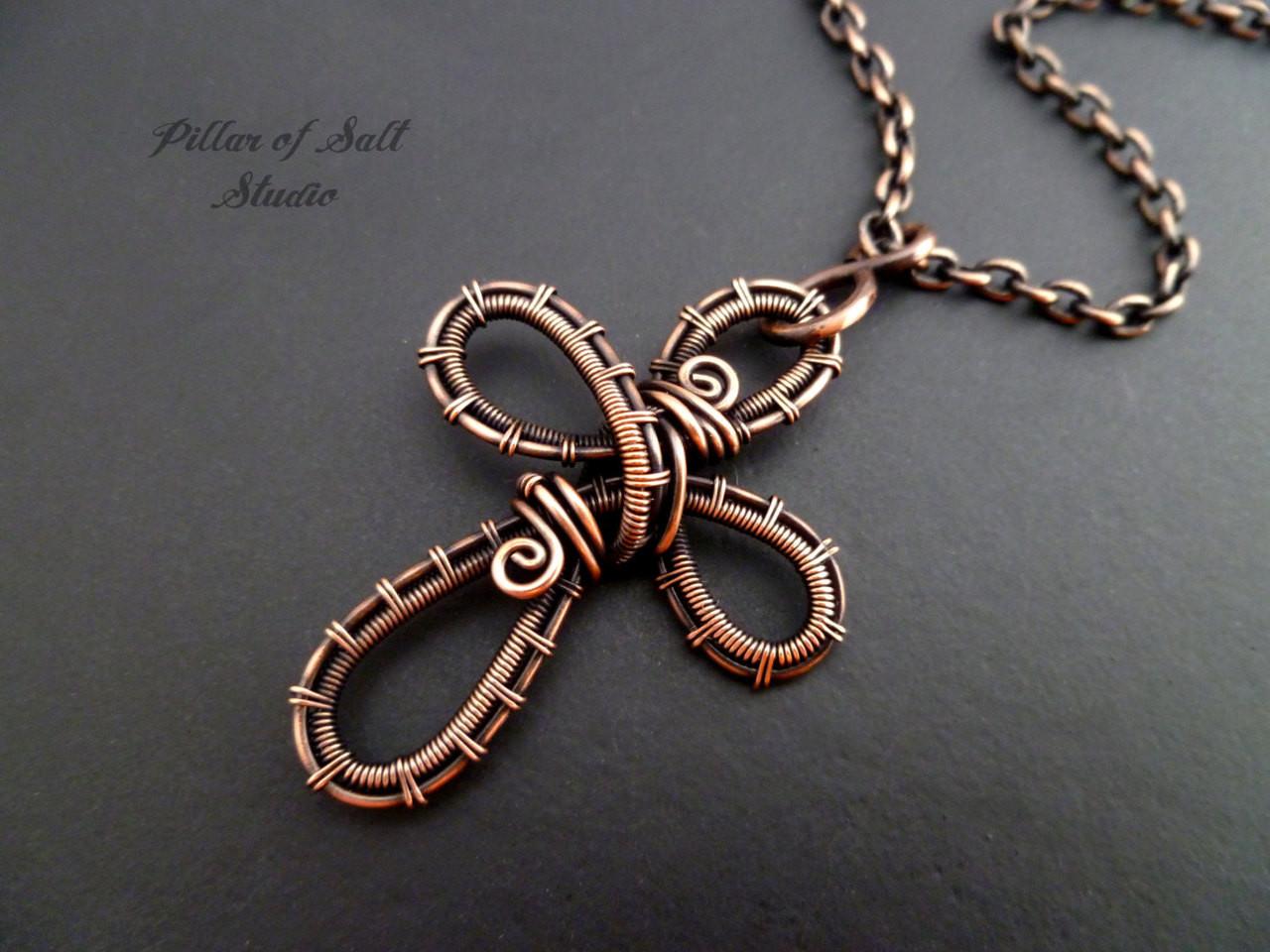 Copper woven wire cross pendant necklace wire wrapped jewelry by woven wire cross pendant necklace copper wire wrapped jewelry by pillar of salt studio aloadofball Choice Image