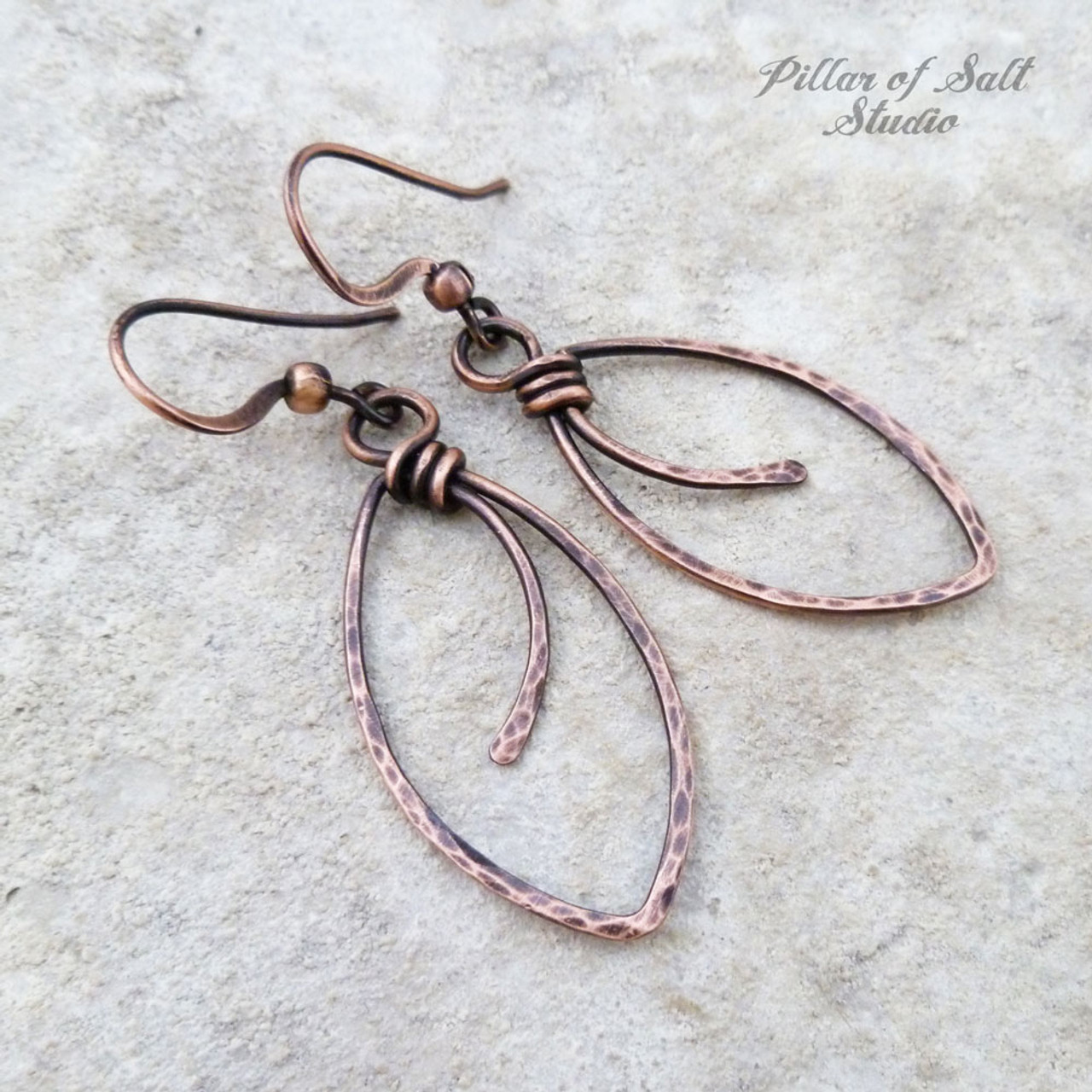 Marquis shape hammered Copper wire wrapped earrings - Pillar of ...