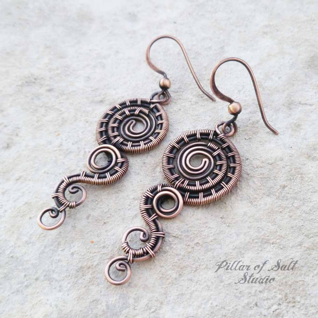 Dripping Spiral Copper wire wrapped earrings - Pillar of Salt ...