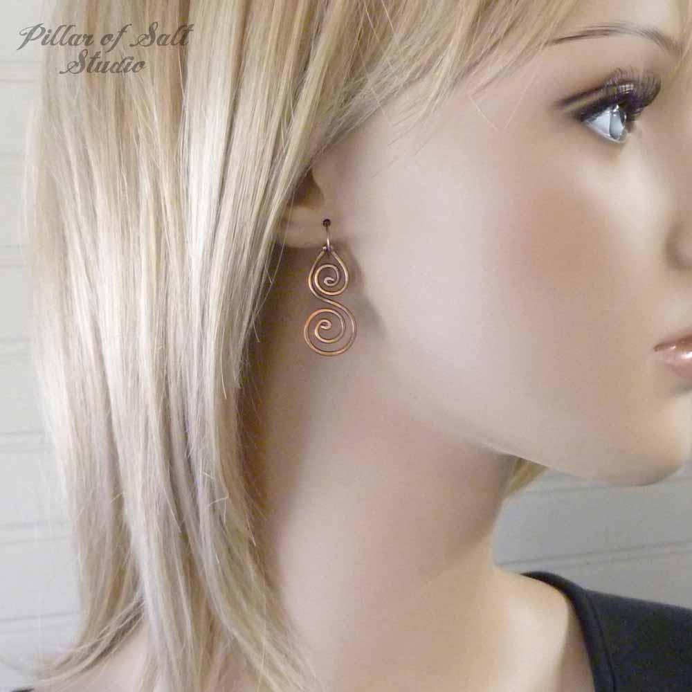 solid copper wire wrapped earrings / handmade jewelry by Pillar of Salt Studio