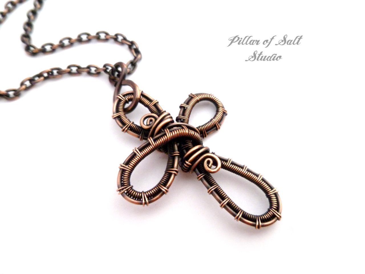 Copper woven wire cross pendant necklace / wire wrapped jewelry by ...
