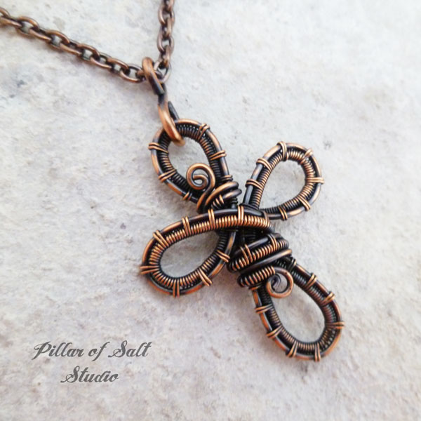 Woven wire cross pendant necklace / copper wire wrapped jewelry by Pillar of Salt Studio