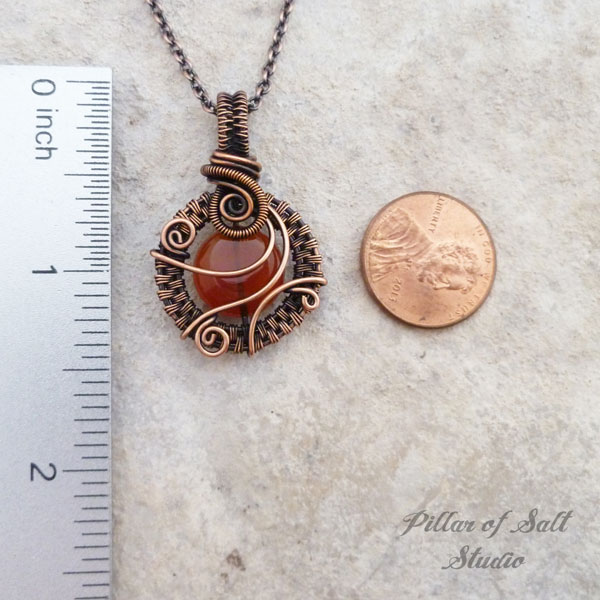red Carnelian wire wrapped copper pendant by Pillar of Salt Studio